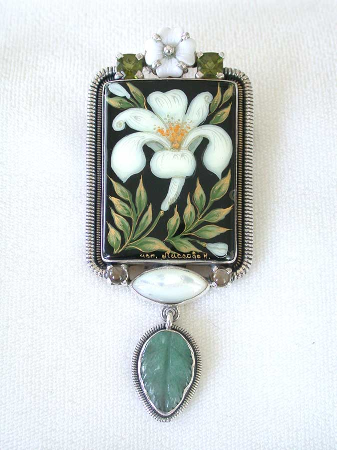 Amy Kahn Russell Online Trunk Show: Russian Hand Painting on Black Onyx & Green Aventurine Pin/Pendant | Rendezvous Gallery