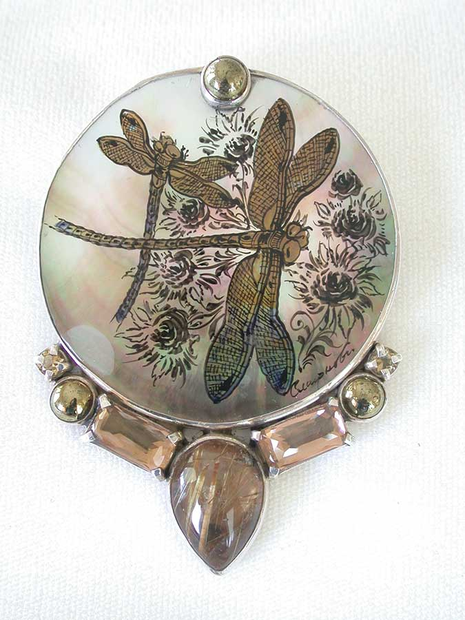 Amy Kahn Russell Online Trunk Show: Russian Hand Painting on Mother of Pearl Pin/Pendant | Rendezvous Gallery