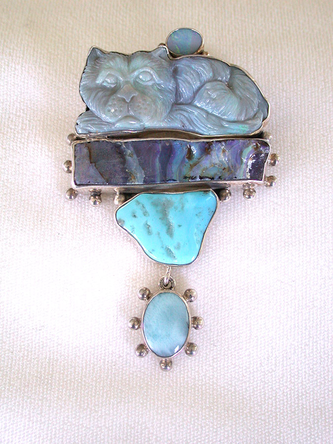 Amy Kahn Russell Online Trunk Show: Carved Opal, Boulder Opal & Turquoise Pin/Pendant | Rendezvous Gallery