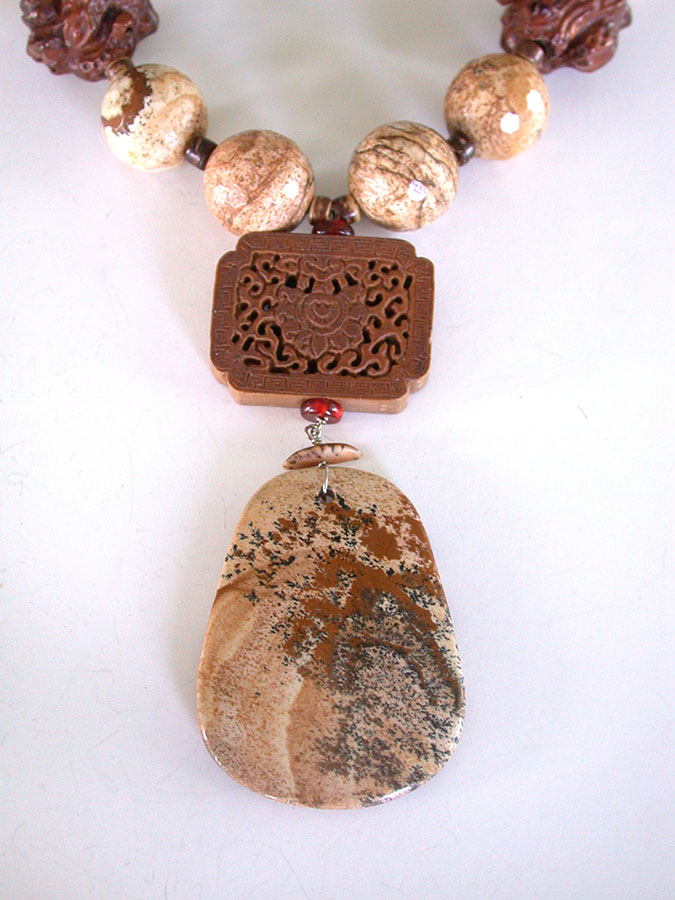 Amy Kahn Russell Online Trunk Show: Picture Jasper & Hand Carved Wood Necklace | Rendezvous Gallery