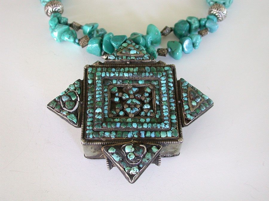 Amy Kahn Russell Online Trunk Show: Antique Tibetan Prayer Box & Turquoise Necklace | Rendezvous Gallery
