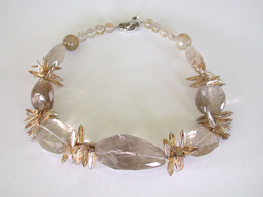 Amy Kahn Russell Online Trunk Show: Rutilated Quartz & Hand Made Glass Necklace | Rendezvous Gallery