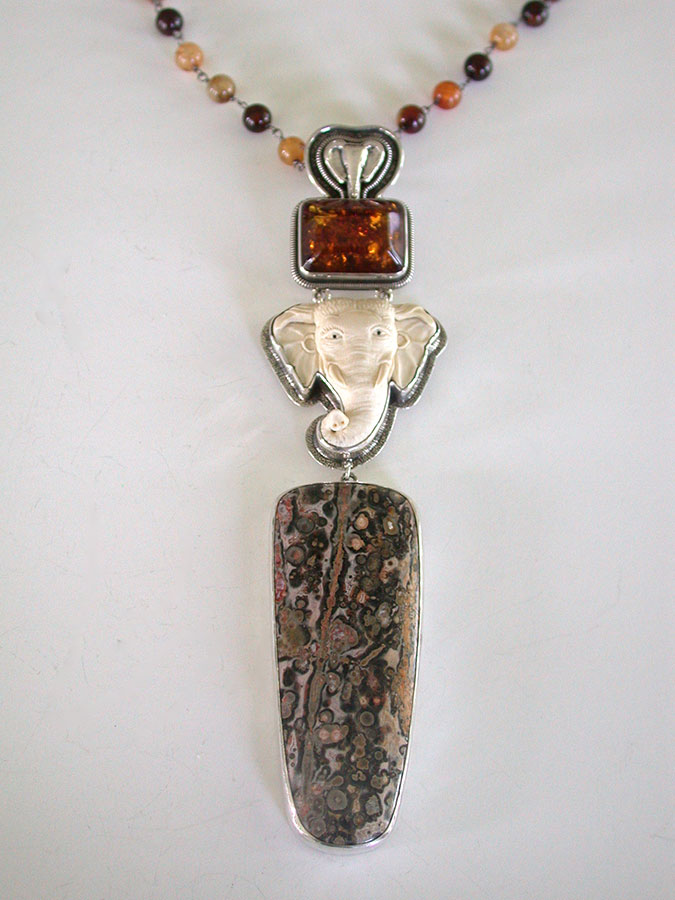 Amy Kahn Russell Online Trunk Show: Baltic Amber, Fossilized Ivory & Leopard Skin Jasper Necklace | Rendezvous Gallery