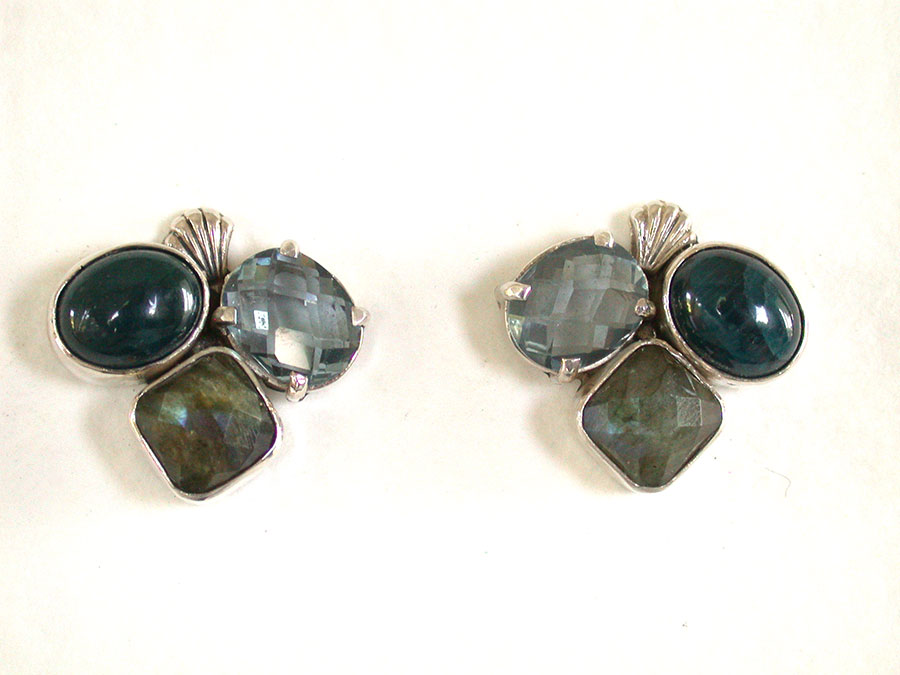 Amy Kahn Russell Online Trunk Show: Apatite & Labradorite Post Earrings | Rendezvous Gallery