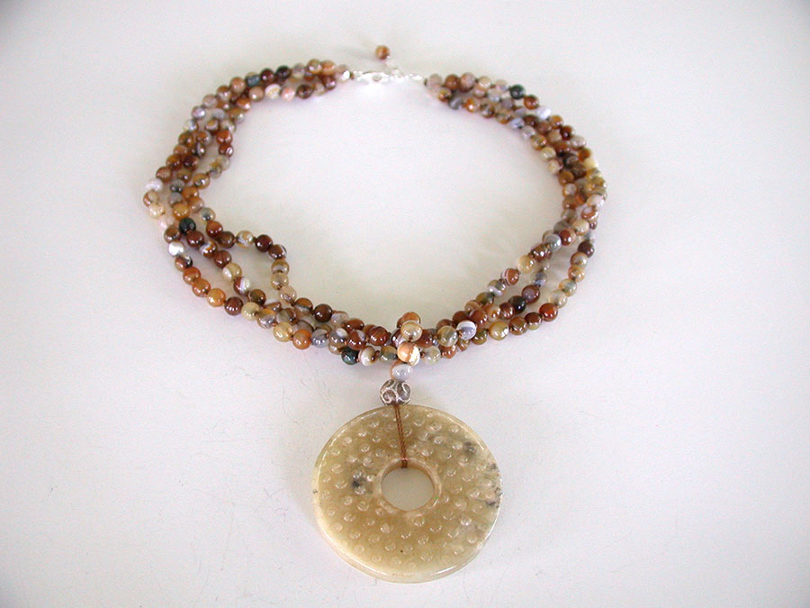 Amy Kahn Russell Online Trunk Show: Carved Jade & Natural Agate Necklace | Rendezvous Gallery