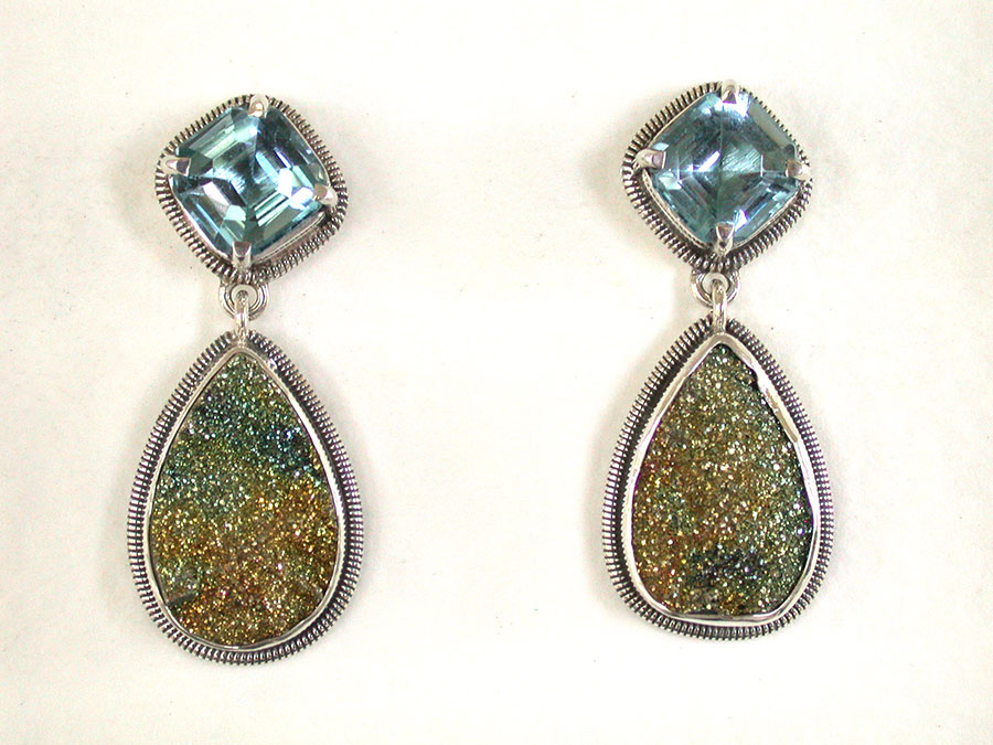 Amy Kahn Russell Online Trunk Show: Blue Topaz & Pyrite Drusy Post Earrings | Rendezvous Gallery