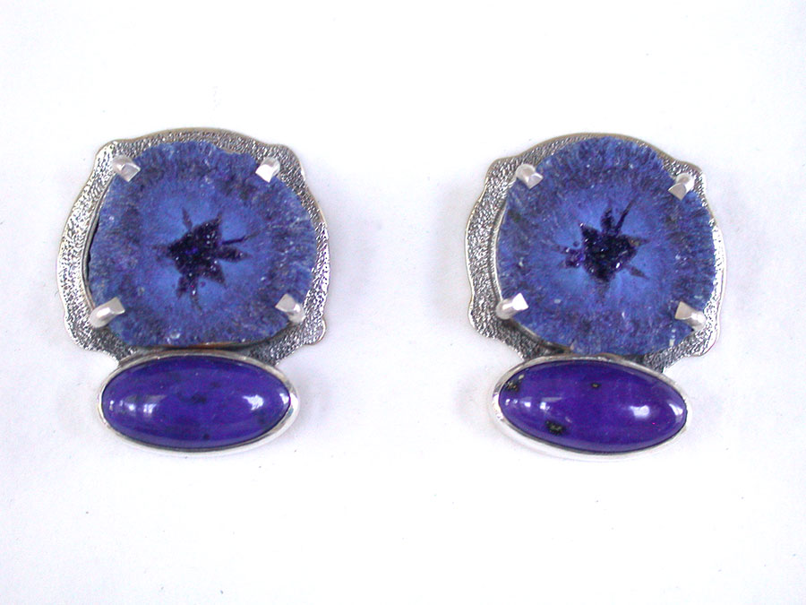Amy Kahn Russell Online Trunk Show: Azurite Drusy Geode & Lapis Lazuli Clip Earrings | Rendezvous Gallery