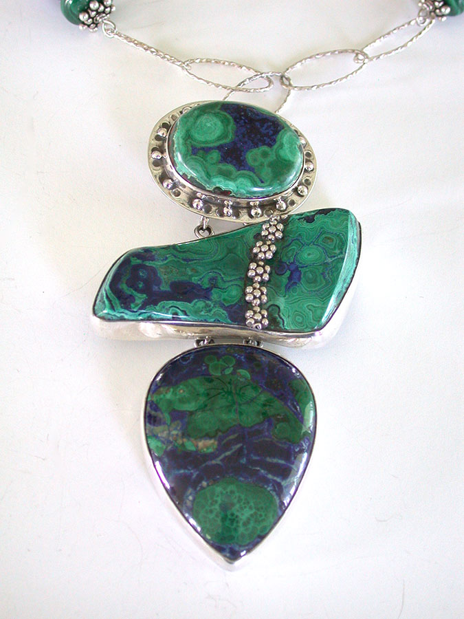 Amy Kahn Russell Online Trunk Show: Malachite Azurite, Lapis Lazuli & Malachite Necklace | Rendezvous Gallery