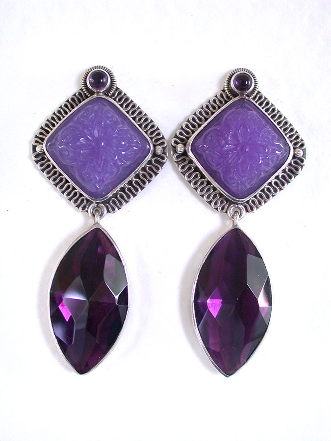 Amy Kahn Russell Online Trunk Show: Amethyst & Carved Purple Quartz Clip Earrings | Rendezvous Gallery