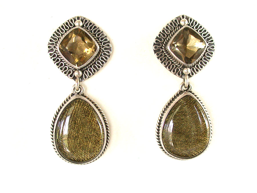 Amy Kahn Russell Online Trunk Show: Lemon Citrine & Tapestry with Quartz Post Earrings | Rendezvous Gallery