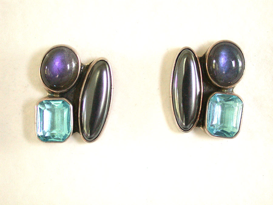 Amy Kahn Russell Online Trunk Show: Labradorite, Blue Topaz & Hematite Post Earrings | Rendezvous Gallery
