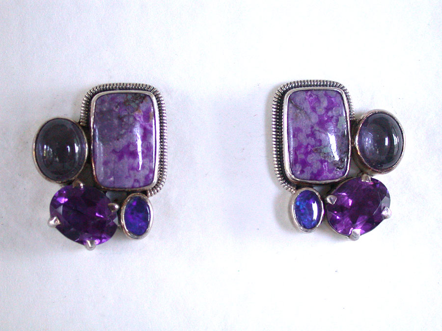 Amy Kahn Russell Online Trunk Show: Sugalite, Iolite, Amethyst & Opal Post Earrings | Rendezvous Gallery