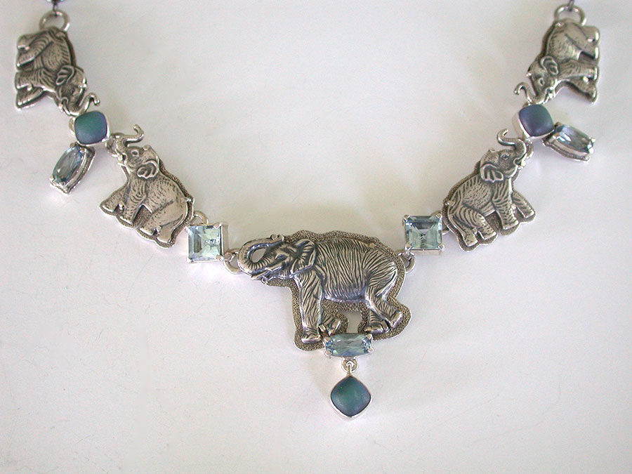 Amy Kahn Russell Online Trunk Show: Sterling Silver, Blue Topaz & Celestial Quartz Necklace | Rendezvous Gallery