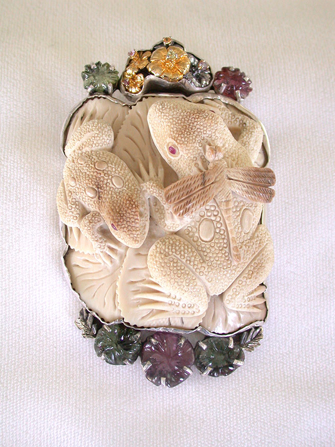 Amy Kahn Russell Online Trunk Show: Hand Carved Fossilized Mammoth Ivory & Tourmaline Pin/Pendant | Rendezvous Gallery