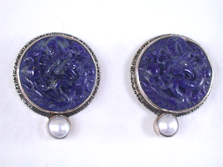 Amy Kahn Russell Online Trunk Show: Carved Lapis Lazuli & Pearl Clip Earrings | Rendezvous Gallery