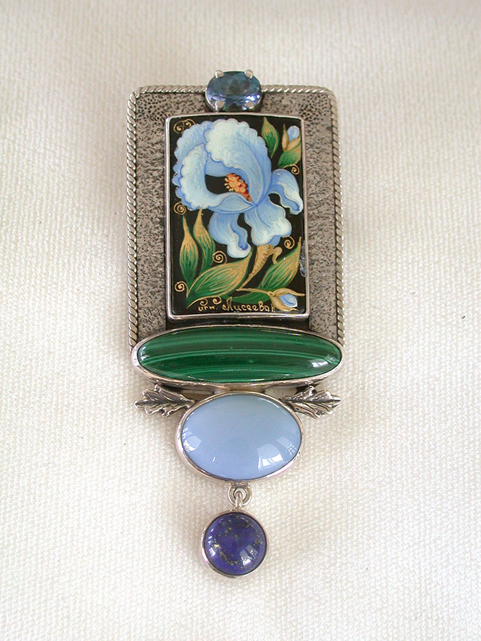 Amy Kahn Russell Online Trunk Show: Blue Spinal, Russian Hand Painting on Black Onyx & Malachite Pin/Pendant | Rendezvous Gallery