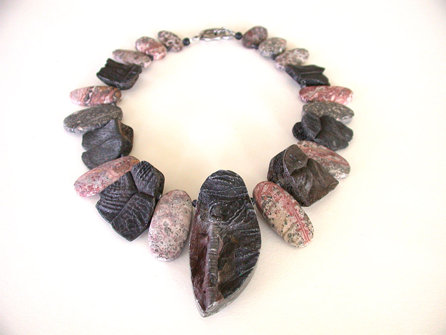 Amy Kahn Russell Online Trunk Show: Fossilized Crinoid, Fossilized Tortoise Shell & Jasper Necklace | Rendezvous Gallery