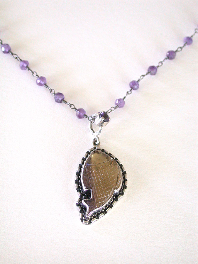 Amy Kahn Russell Online Trunk Show: Carved Fluorite & Amethyst Necklace | Rendezvous Gallery