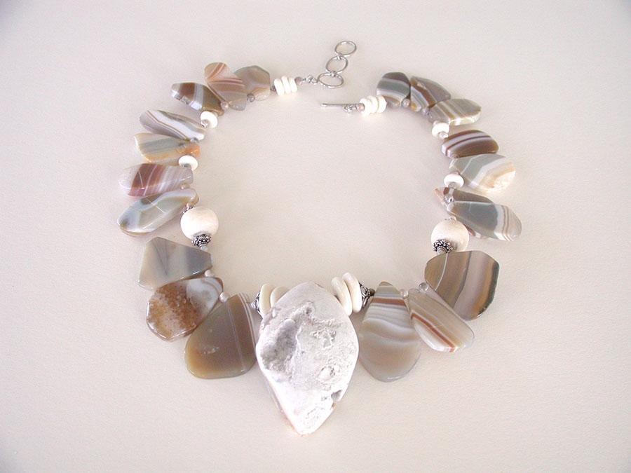Amy Kahn Russell Online Trunk Show: Natural Agate & Botswana Agate Necklace | Rendezvous Gallery