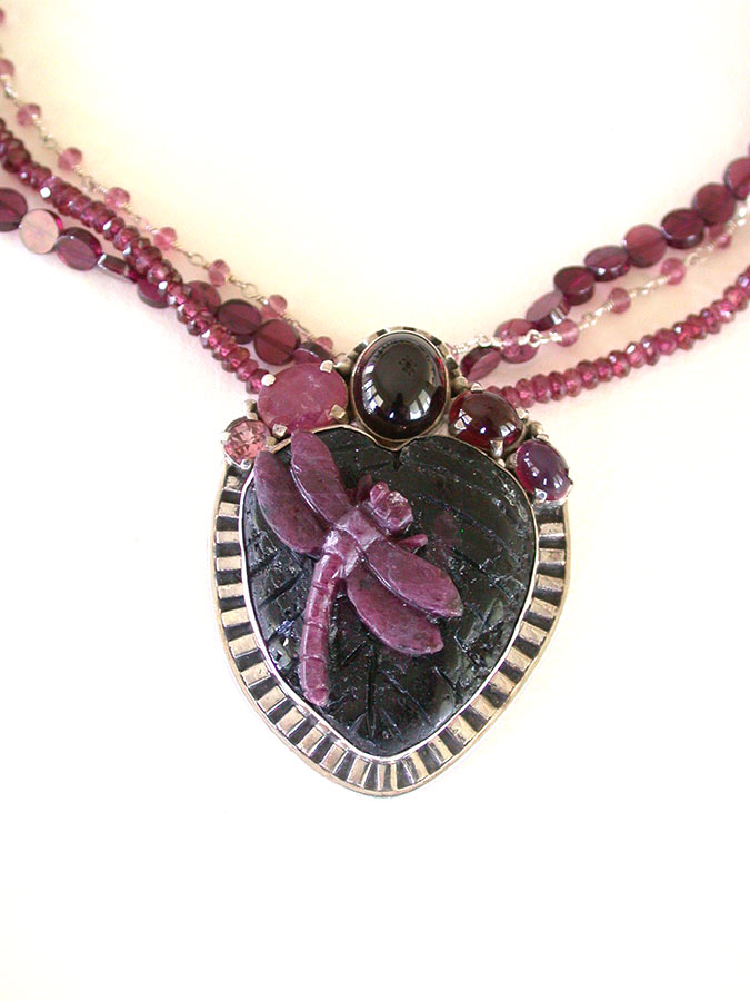 Amy Kahn Russell Online Trunk Show: Hand Carved Ruby in Zoisite, Ruby and Garnet Pin/Pendant/Necklace | Rendezvous Gallery
