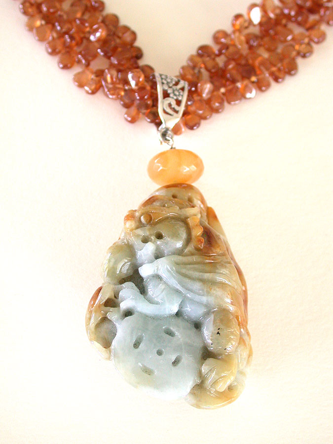 Amy Kahn Russell Online Trunk Show: Hand Carved Jade, Hessonite & Horn Necklace | Rendezvous Gallery