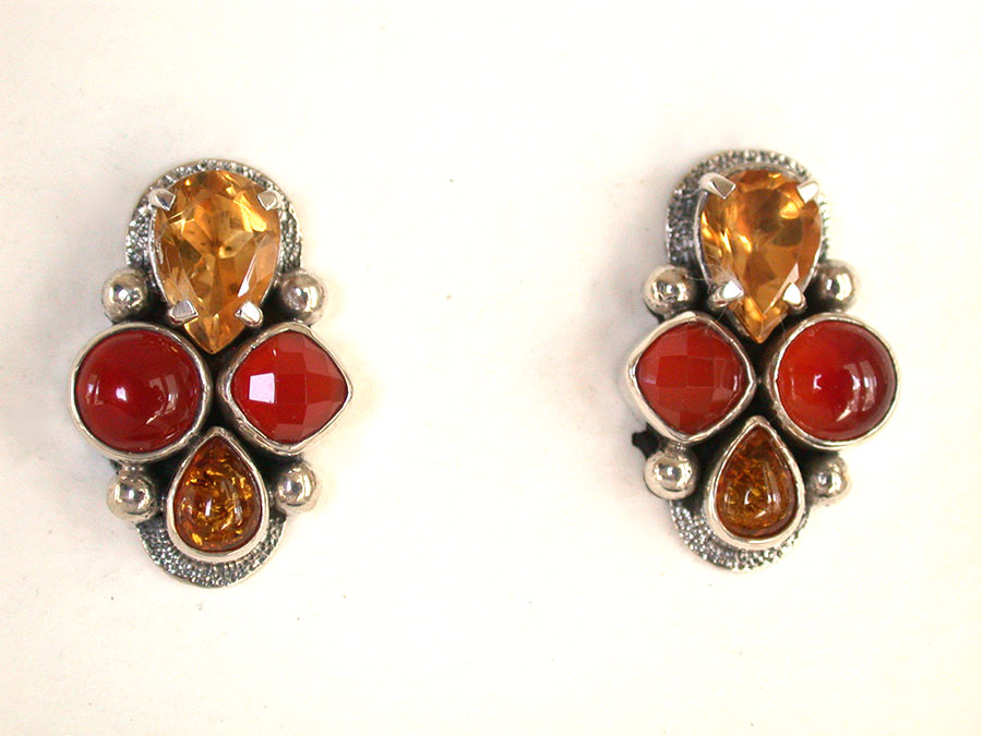Amy Kahn Russell Online Trunk Show: Citrine, Carnelian & Amber Clip Earrings | Rendezvous Gallery