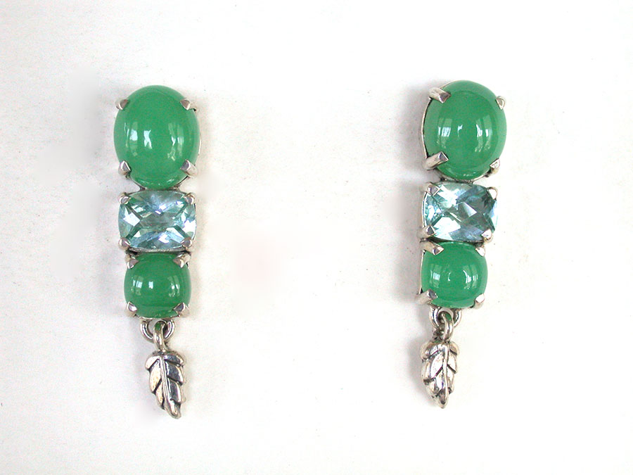 Amy Kahn Russell Online Trunk Show: Chrysoprase & Blue Topaz Post Earrings | Rendezvous Gallery