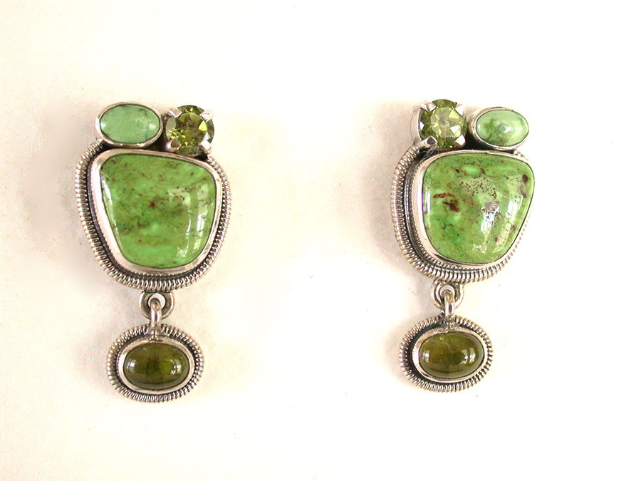 Amy Kahn Russell Online Trunk Show: Gaspeite & Peridot Post Earrings | Rendezvous Gallery