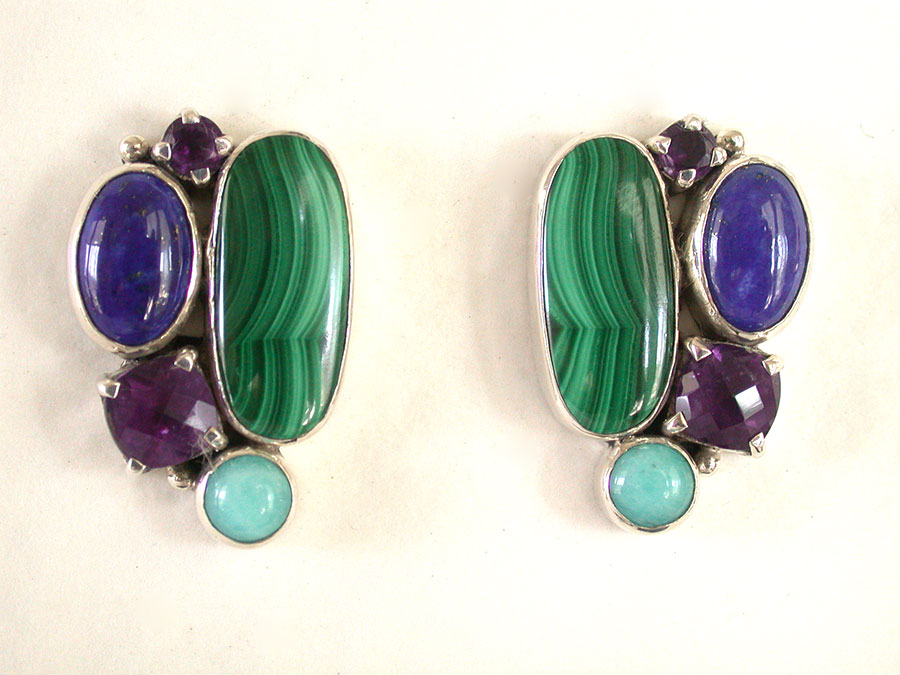 Amy Kahn Russell Online Trunk Show: Lapis Malachite, Lapis Lazuli, Amethyst & Amazonite Clip Earrings | Rendezvous Gallery