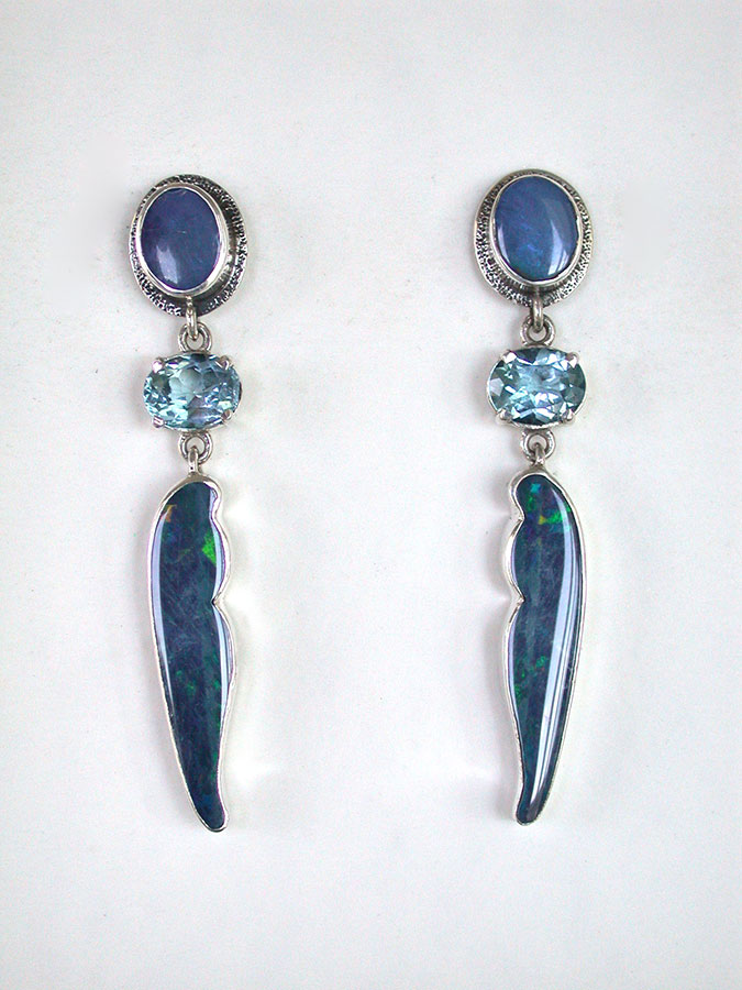 Amy Kahn Russell Online Trunk Show: Opal & Blue Topaz Post Earrings | Rendezvous Gallery