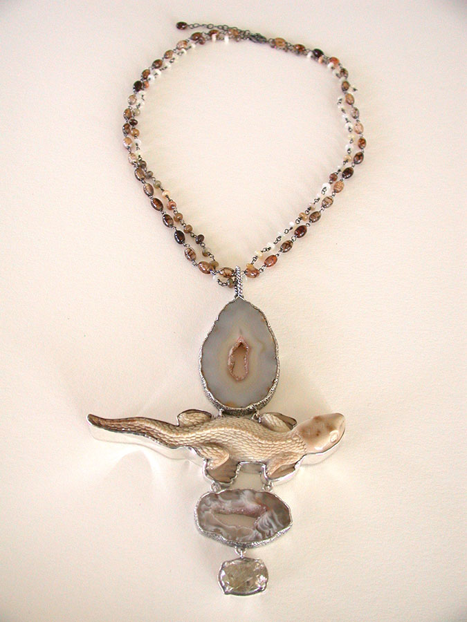 Amy Kahn Russell Online Trunk Show: Natural Agate, Carved Bone & Rutilated Quartz Necklace | Rendezvous Gallery