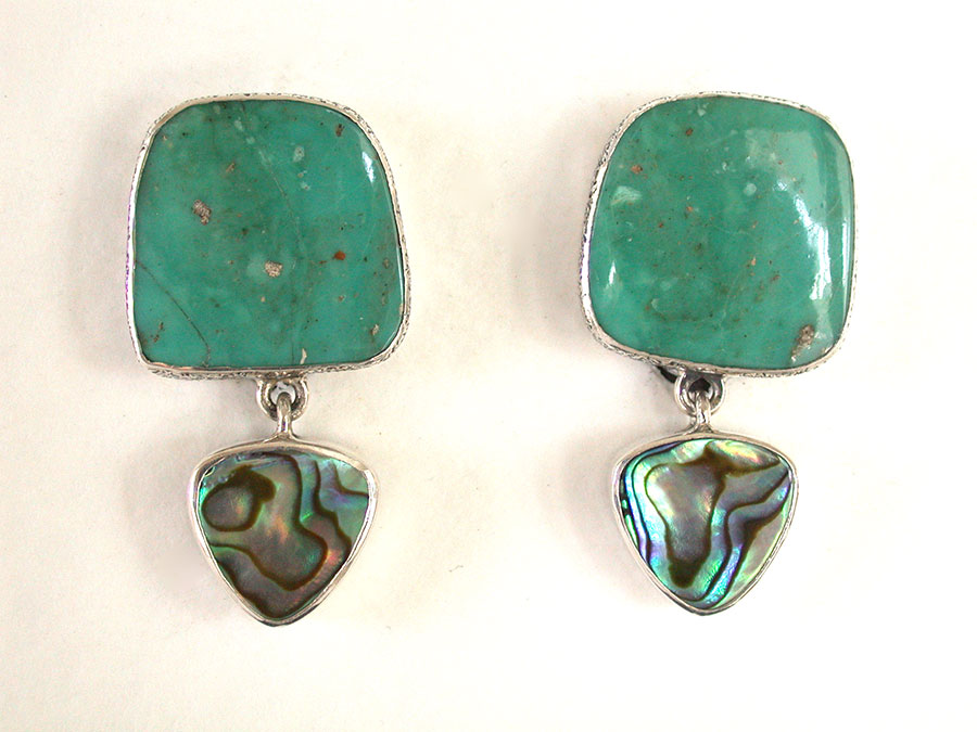 Amy Kahn Russell Online Trunk Show: Turquoise & Paua Shell Clip Earrings | Rendezvous Gallery