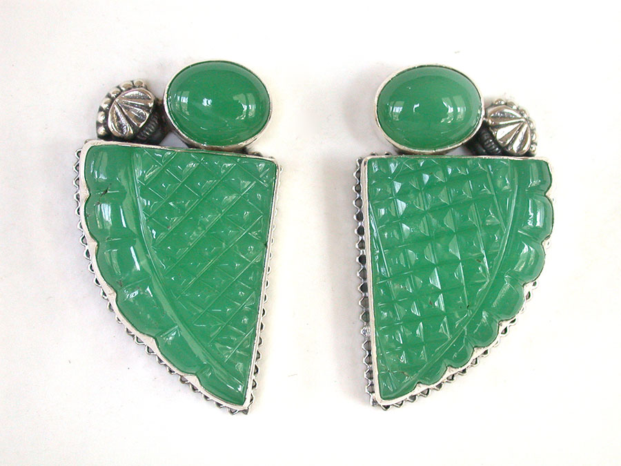 Amy Kahn Russell Online Trunk Show: Chrysoprase Clip Earrings| Rendezvous Gallery