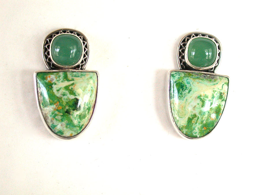 Amy Kahn Russell Online Trunk Show: Chrysoprase & Jardin de Primavera Clip Earrings | Rendezvous Gallery