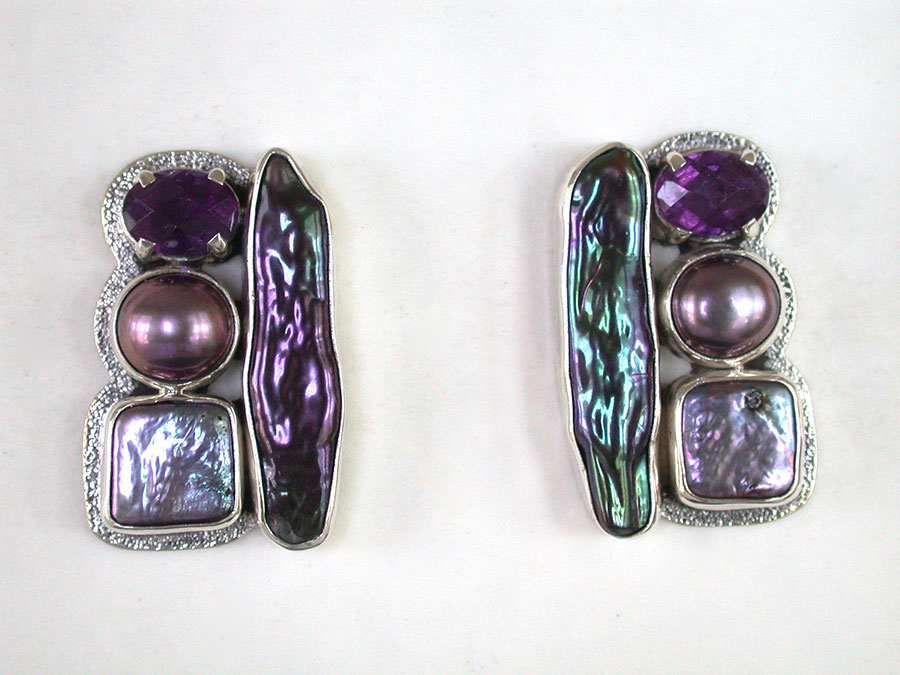 Amy Kahn Russell Online Trunk Show: Freshwater Pearl & Amethyst Post Earrings | Rendezvous Gallery