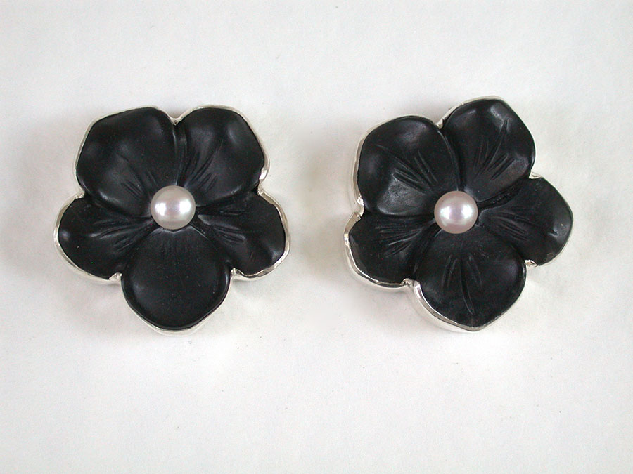 Amy Kahn Russell Online Trunk Show: Hand Carved Black Onyx & Pearl Clip Earrings | Rendezvous Gallery