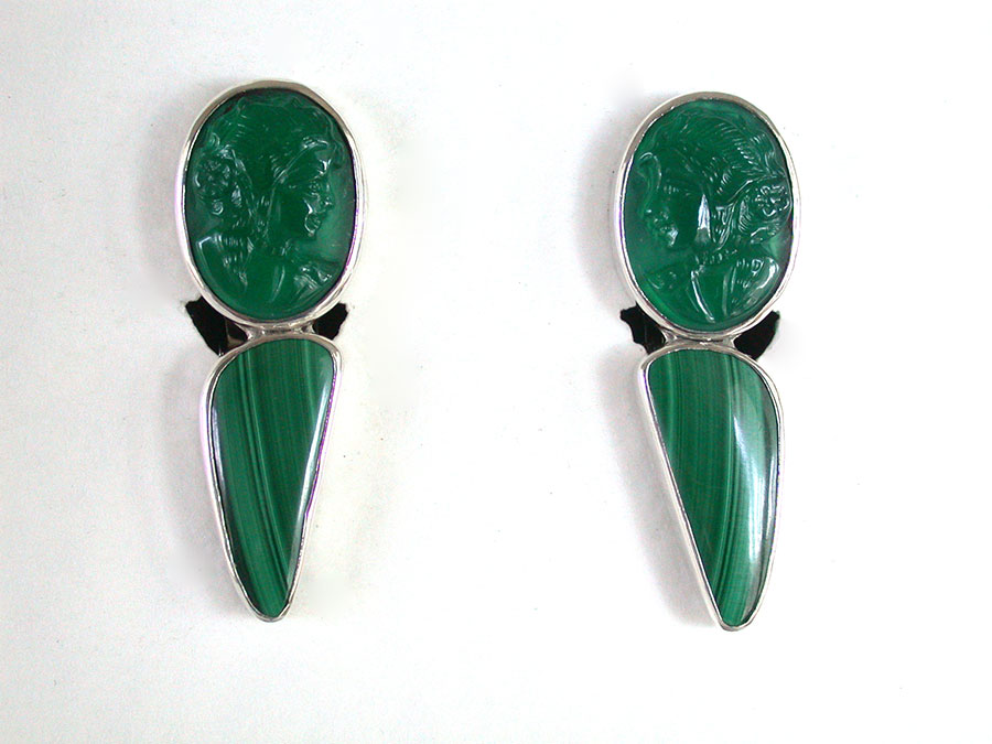 Amy Kahn Russell Online Trunk Show: Vintage Glass & Malachite Clip Earrings | Rendezvous Gallery
