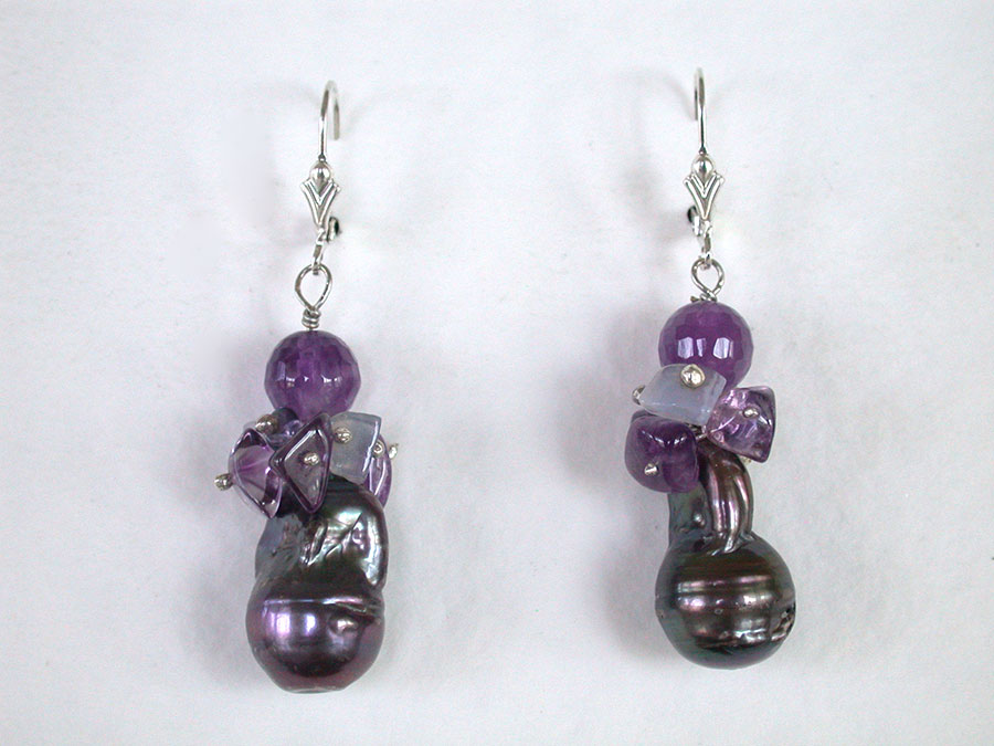 Amy Kahn Russell Online Trunk Show: Amethyst, Chalcedony, Iolite & Pearl Earrings | Rendezvous Gallery