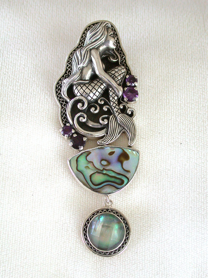 Amy Kahn Russell Online Trunk Show: Sterling Silver, Amethyst & Abalone Pin/Pendant | Rendezvous Gallery