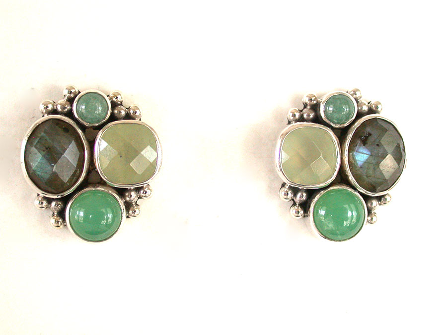 Amy Kahn Russell Online Trunk Show: Jade, Paua Shell, Labradorite & Chrysoprase Post Earrings | Rendezvous Gallery