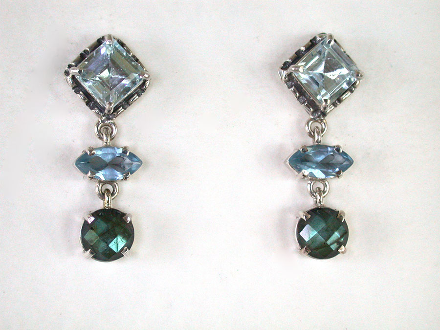 Amy Kahn Russell Online Trunk Show: Blue Topaz & Labradorite Post Earrings | Rendezvous Gallery