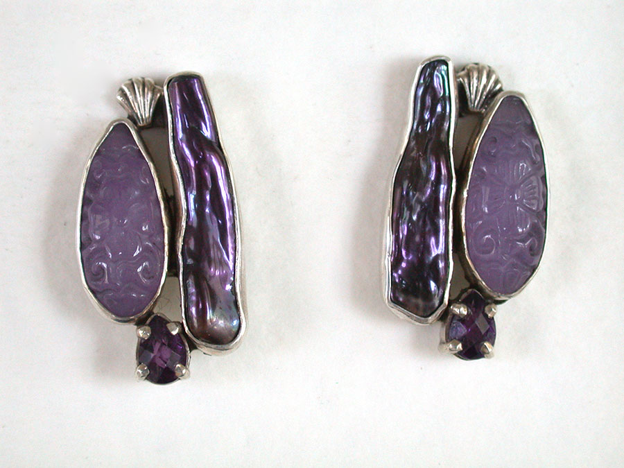 Amy Kahn Russell Online Trunk Show: Purple Quartz, Pearl & Amethyst Post Earrings | Rendezvous Gallery