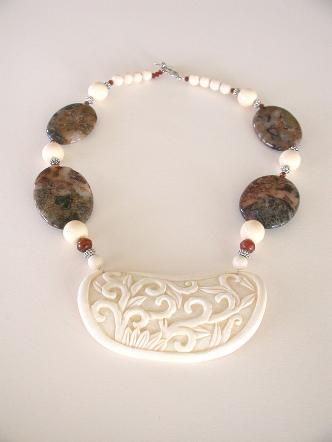 Amy Kahn Russell Online Trunk Show: Hand Carved Bone & Jasper Necklace | Rendezvous Gallery