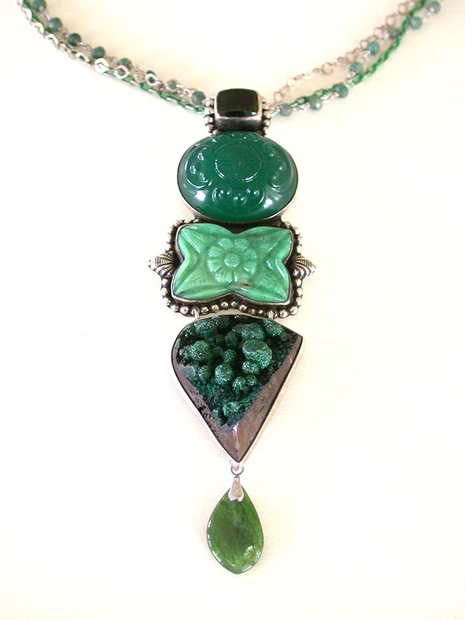 Amy Kahn Russell Online Trunk Show: Green Garnet, Chrome Diopsite, Green Agate & Emerald Necklace | Rendezvous Gallery