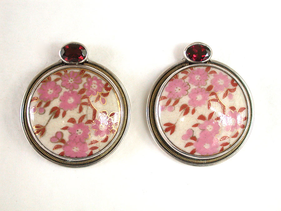 Amy Kahn Russell Online Trunk Show: Garnet & Antique Japanese Porcelain Post Earrings | Rendezvous Gallery