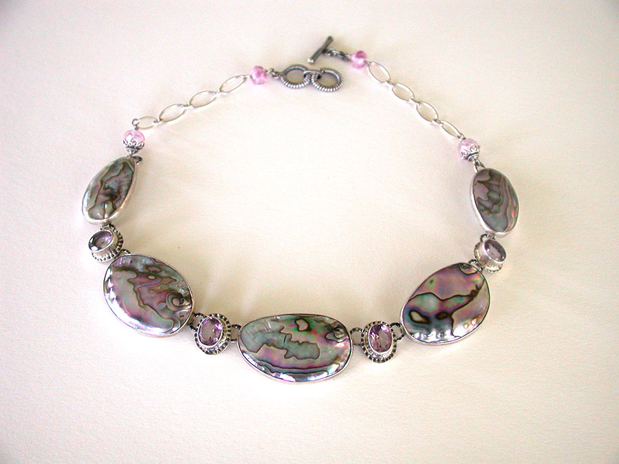 Amy Kahn Russell Online Trunk Show: Abalone & Faceted Quartz Necklace | Rendezvous Gallery