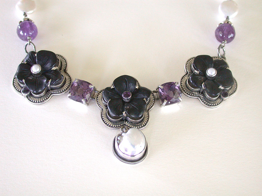 Amy Kahn Russell Online Trunk Show: Hand Carved Black Onyx, Pearl & Amethyst Necklace | Rendezvous Gallery