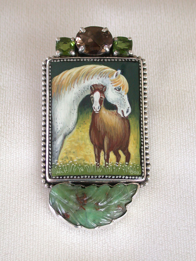 Amy Kahn Russell Online Trunk Show: Russian Hand Painting on Black Onyx & Carved Chrysoprase Pin/Pendant | Rendezvous Gallery