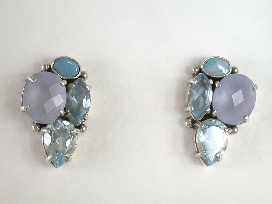 Amy Kahn Russell Online Trunk Show: Opal, Chalcedony & Blue Topaz Post Earrings | Rendezvous Gallery