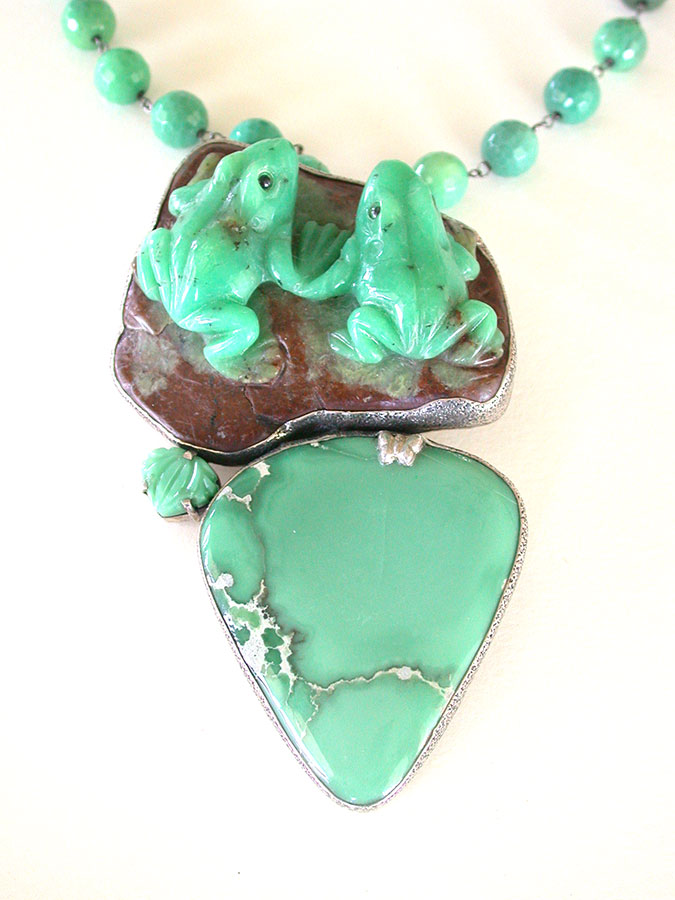 Amy Kahn Russell Online Trunk Show: Carved Chrysoprase & Turquoise Necklace | Rendezvous Gallery
